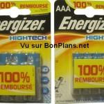 Piles Energizer 100% remboursé