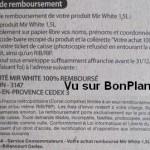 Modalités lessive Mir White 100% remboursé